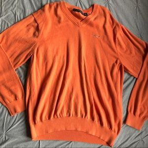 mens orange vneck sweater